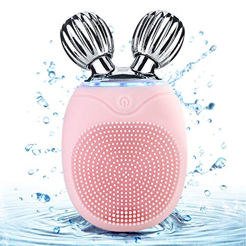 Eurobuy Portable 3 IN 1 Facial Cleansing Brush,Mini 3D Roller Facial Massager,Waterproof Silicone Vibrating Facial Toning Device for Reducing Wrinkles,Firming skin Massage ()