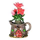 Mini Dollhouse FAIRY GARDEN Accessories - Solar Tea Kettle Fairy House With Peach Flowers ...