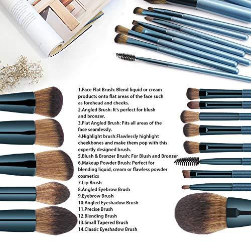 BS-MALL Makeup Brush Set 14Pcs Premium Synthetic Professional Makeup Brushes Foundation Powder Blending Concealer Eye shadows Blush Makeup Brush Kit Deep Starry Blue