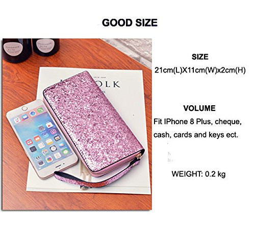 Purse Silver and Silver Beaulegan Wristlet Cards Phone for Wallet Zip Women Sequins Pink Keys Black R7qpXf