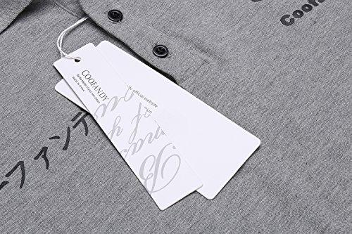 (クーファンディ) Coofandy ポロシャツ 半袖 ゴルフ メンズ 無地 ロゴプリント 吸汗速乾 通気 鹿の子 夏 スリム フィット 仕事用 通勤 通学 カジュアル 黒 グレー S~XXL