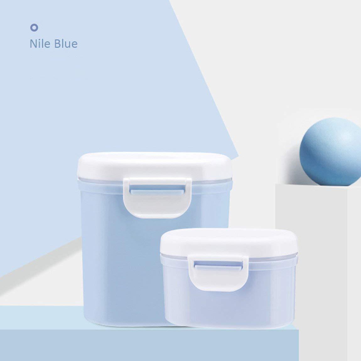 Gr/ö/ße: L Tragbare Outdoor-Gro/ßraum-Baby-Kleinkind-Milchpulver versiegelt Aufbewahrungsbox Tank Organizer Container erhalten Box Farbe: Blau