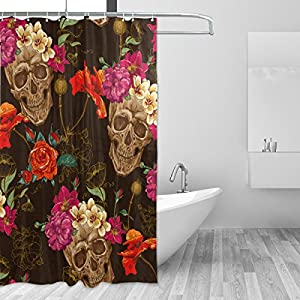 Sugar Skull Dia De Los Muertos Waterproof Polyester Bathroom Shower Curtain Set for Home Decor with Hooks,60W X 72L Inches