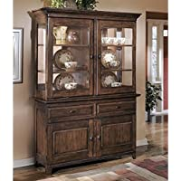 Ashley Larchmont Wood China Cabinet in Brown