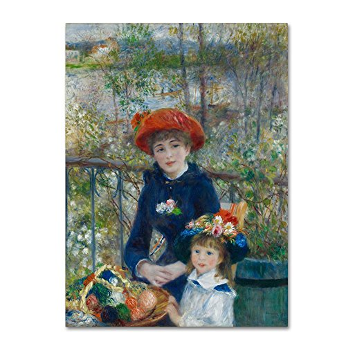 (Two Sisters On The Terrace 2 by Renoir, 14x19-Inch Canvas Wall Art)