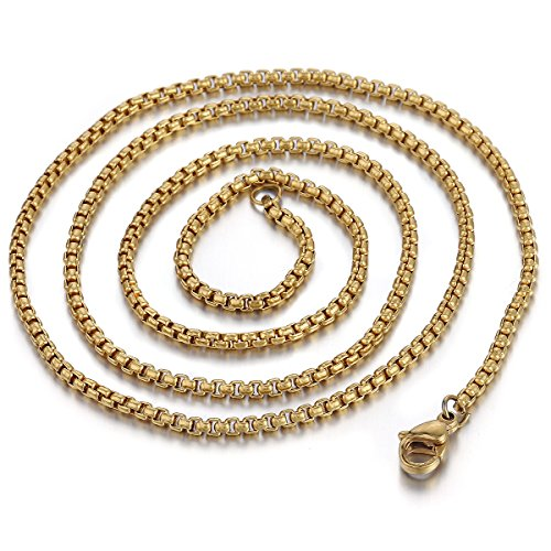 Stainless Steel 2mm Box Chain Necklace (Gold Plated) - 2