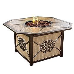 Ice Cooler Carts Heritage Octagon Firepit Table With Porcelain Top Aluminum Frame Burner Systemmand Red Lava Rock Antique Bronze