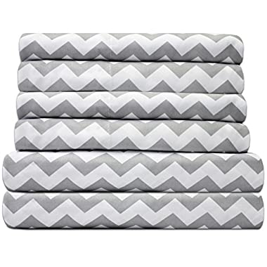 Sweet Home Collection Quality Deep Pocket Bed Sheet Set-2 Extra Pillow Cases, Great Value, King, Chevron Gray, 6 Piece
