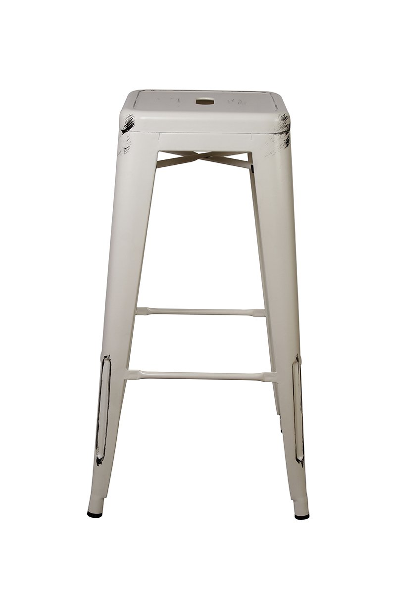 GIA Metal Stool Bar Height Square Backless Tolix Style Weight Capacity Of 300 Pounds Ready To Use Extra Durable And Stackable Antique White