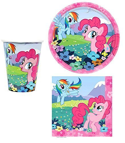 My Little Pony Party Supplies for 16 People 48 Piece Set 16 Cups 16 Dessert Plates and 16 Lunch Napkins