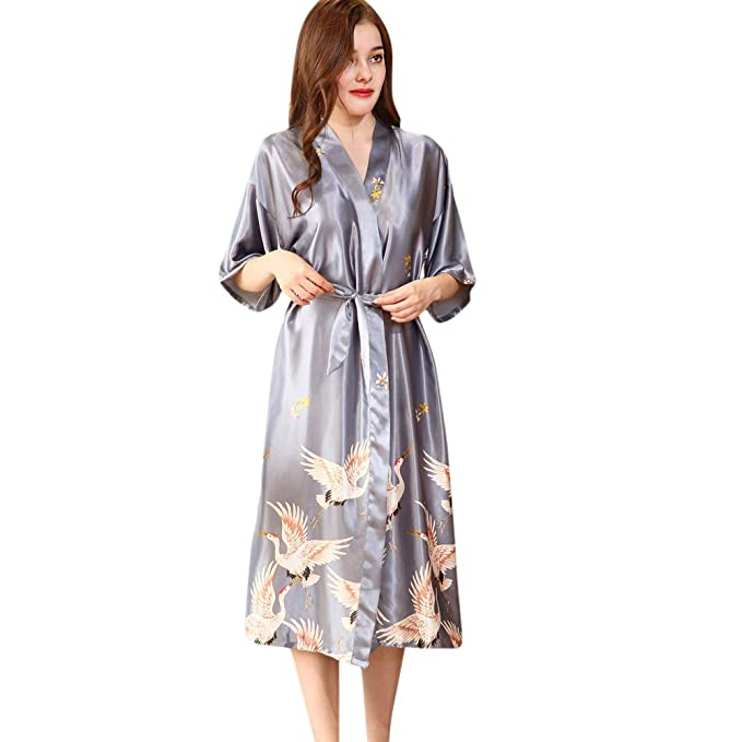 STRIR Kimono Mujer Batas Cortos Lenceria de Aspecto Brillante: Amazon.es: Ropa y accesorios
