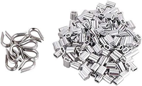 Aluminium-Crimpschlaufen-Clips mit Aderendhülsen für 1,5 mm Kabel Drahtseil, 100 Stück + 10 Stück M2 Edelstahl Fingerhut Combo (Silber ?