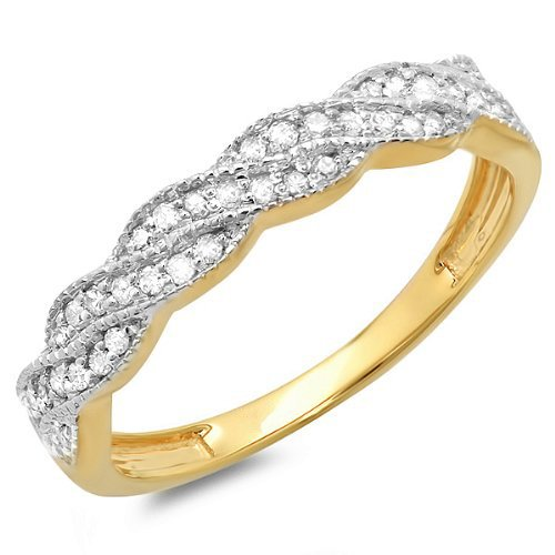 Dazzlingrock Collection 0.25 Carat (ctw) 10k Round Diamond Ladies Anniversary Wedding Stackable Band Swirl Ring 1/4 CT, Yellow Gold, Size 7.5