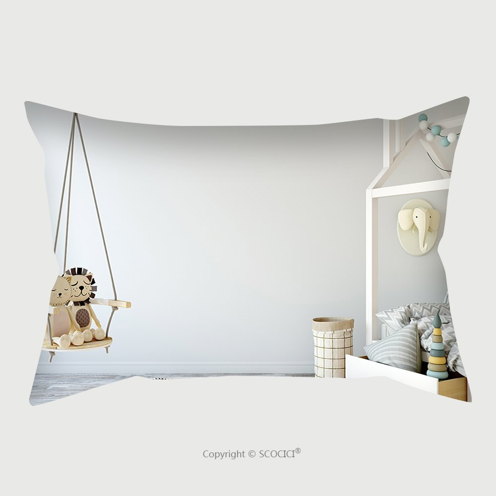 Custom Satin Pillowcase Protector Mock Up Wall In Child Room Interior Interior Scandinavian Style D Rendering D Illustration 572878837 Pillow Case Covers Decorative