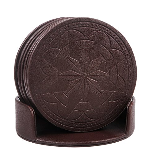 Review Coasters,PU Leather Coasters for