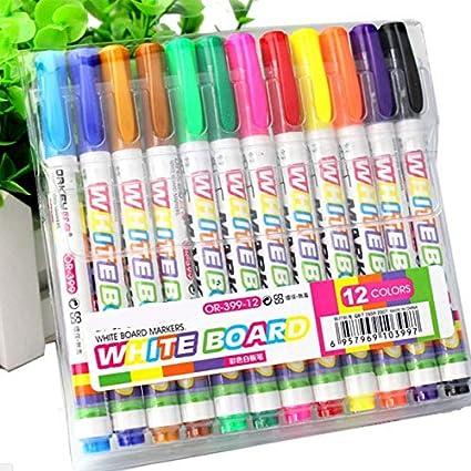 12 rotuladores de pizarra blanca de 12 colores para hacer ...