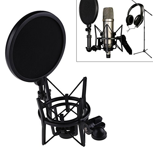 ttnight Microphone Mic Professional Shock Mount with Pop Shield Filter Screen for Rode K2, NT1-A, NT1-A Matched Pair, NT1000, NT2-A, NT2000, Podcaster and Procaster Mics