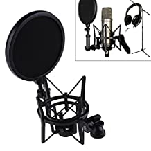 Microphone Mic Professional Shock Mount with Pop Shield Filter Screen for Rode K2, NT1-A, NT1-A Matched Pair, NT1000, NT2-A, NT2000, Podcaster and Procaster Mics
