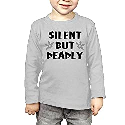ZheuO Boys & Girls Toddler Silent But Deadly Soft and Cozy 100% Cotton Tee Unisex Gray 3 Toddler