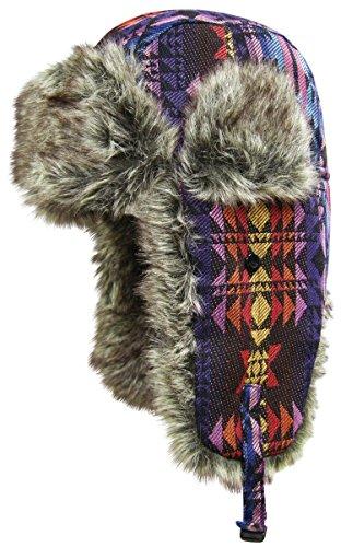 Dakota Womens Cap (Dakota Dan Native Pattern Trooper Ear Flap Winter Hat with Faux Fur Twilight)
