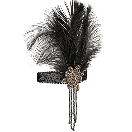 1920s Couple Costumes (KQueenStar 1920s Headpiece Women Flapper Headband Vintage Feather 20s/30sHeadband (Black2))
