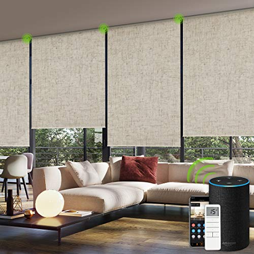 Yoolax Motorized Window Roller Shades Blinds Wireless Remote Control Blackout Fabric Shades for Home and Office Customized (Linen Beige)