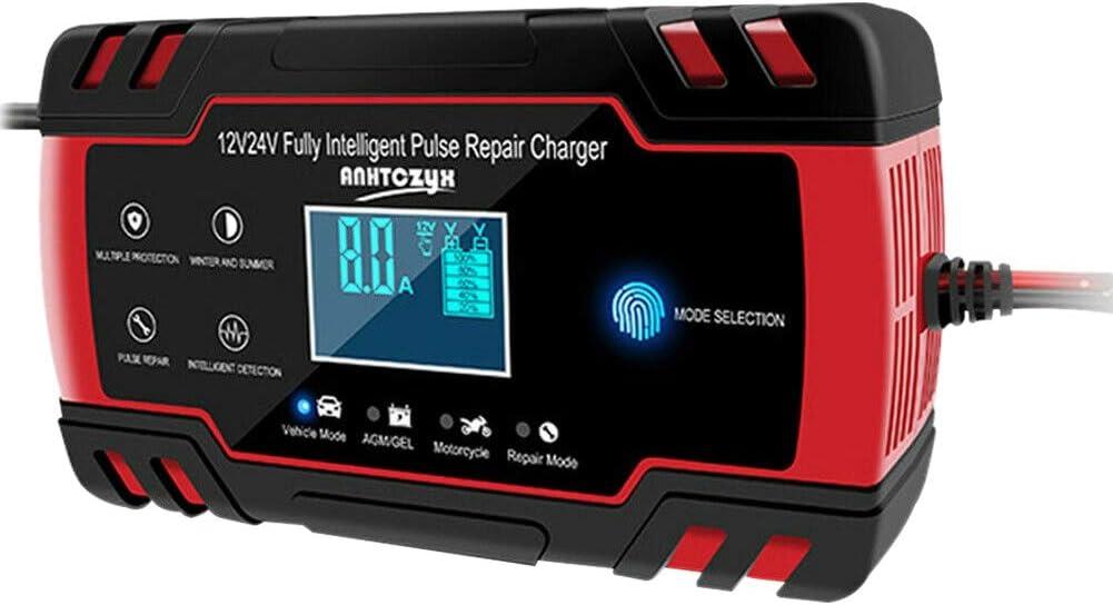 ACAMPTAR Coche Arrancador de Salto de Emergencia 12V/24V Banco de EnergíA Cargador de BateríA con Pantalla LCD Enchufe de la UE
