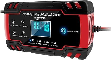 24V per Avviatori per Auto con Display LCD Spina EU Noblik Caricabatteria per Batteria di Emergenza 12V