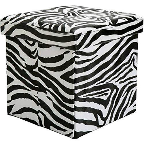 GT Ottoman Folding Storage Containers Zebra Upholstered Stool Bench Home Ottoman Tray Lid Tufted Furniture Ottoman Bench Seat Living Room & E book Easy 2 Find. by GT