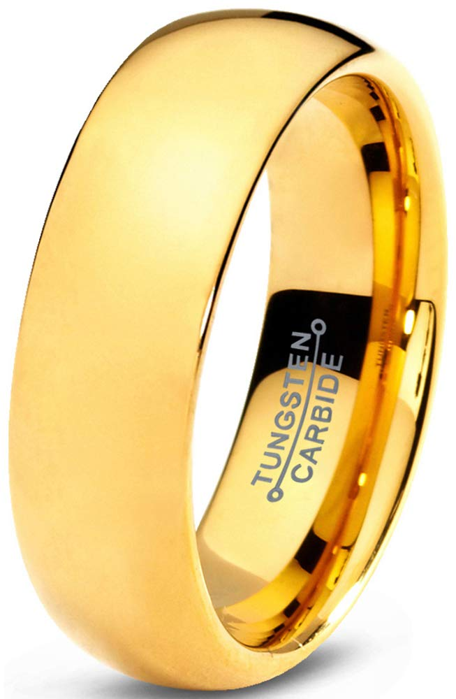Charming Jewelers Tungsten Wedding Band Ring 7mm Men Women Comfort Fit 18k Yellow Gold Dome Polished Size 10.5