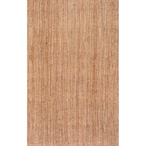 nuLOOM Ashli Handwoven Solid Jute Rug, 6' x 9', Natural