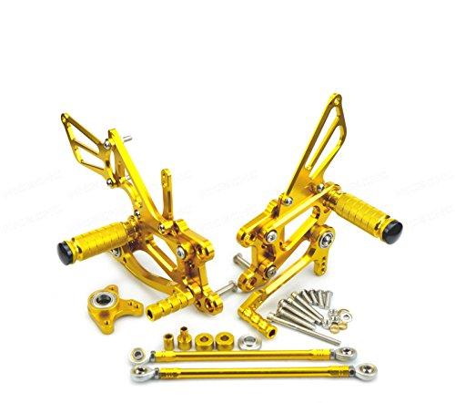 Cbr600rr Rear Sets - NICECNC Gold Motorcycle Racing Fully Adjustable Rearset Footrests Foot Pegs Rear Set Replace CBR600RR 2003-2006 CBR1000RR Fireblade 2004-2007