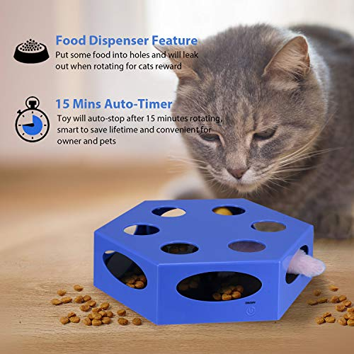 WingPet Interactive Cat Toys - Automatic Cat Exercise Teaser Toy with Worm Tail & Catnip Ball Random Rotating, Pet Kitten Toys for Entertainment Play (Auto Off Timer, Battery Included) 5