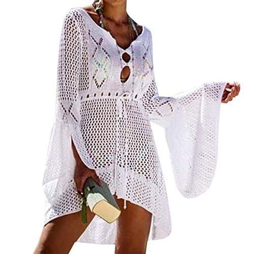 RUUHEE Women Bathing Suits Cover up Drawstring Crochet Bikini Dress Swimsuits (One Size, White Crochet) ()