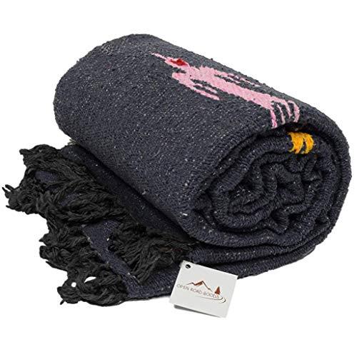 Open Road Goods Charcoal (Dark Grey/Black) Thunderbird Heavyweight Yoga Blanket or Throw - Made for Yoga!