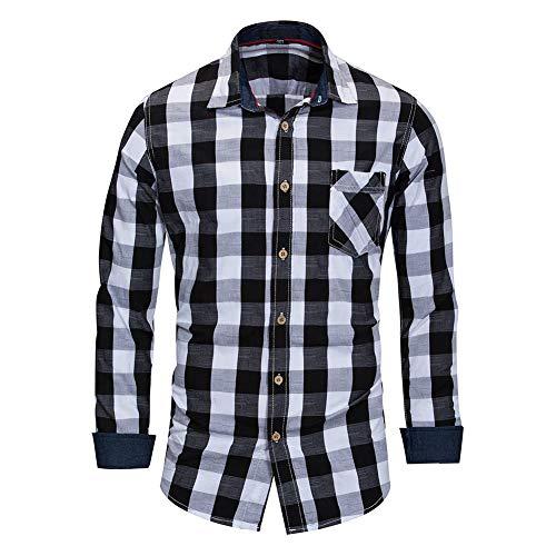 Carreaux Manches En Casual Homme Allthemen Coton Shirt Longues Chemise Noir EwqSHZX
