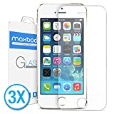 [3Pack] iPhone 5S Screen Protector, Maxboost iPhone 5S / 5 / 5C Glass Screen Protector - [Tempered Glass] [0.2mm] Ballistics Glass, 99% Touch-screen Accurate
