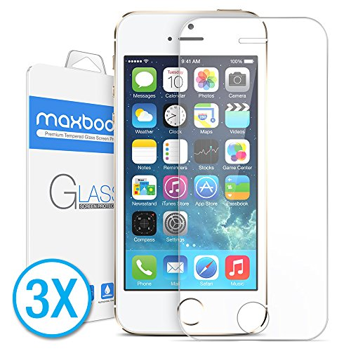 (Maxboost Tempered Glass Screen Protector for iPhone 5s 5 5c, Pack of 3-0.2mm Ballistic Glass, 99% Touch-Screen Accurate)