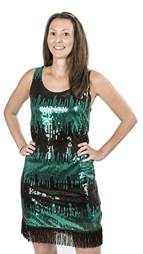 Sexiest Girl Halloween Costumes (Charades Womens Costume Flapper Dress Black and Jade Sequin X-Small)