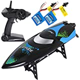 ANTAPRCIS 24km/h RC Race Boat Toy, 40MHz High Speed Fast Furious Boat with Remote Control for Adults Kids with 2 Free Battery, Black