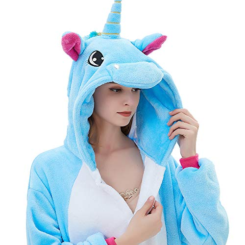 ABENCA Fleece Onesie Pajamas for Women Adult Cartoon Animal Unicorn Christmas Halloween Cosplay Onepiece Costume, Unicorn Blue Old, M -