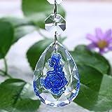 H&D Rose Carved Chandelier Crystals Parts Decorations Ornaments Hanging Lamp Prisms Rainbow Sun Catcher Window Pendant 50mm (10pcs, blue)
