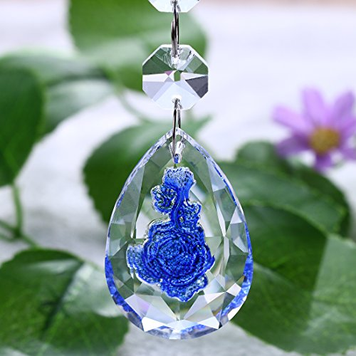 H&D Rose Carved Chandelier Crystals Parts Decorations Ornaments Hanging Lamp Prisms Rainbow Sun Catcher Window Pendant 50mm (10pcs, blue) by H&D