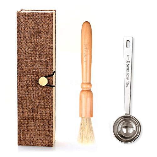 Coffee Grinder Brush and Measuring Scoop with Gift Box, Natural Wood & Bristles & 304 Stainless Steel Spoon Espresso…