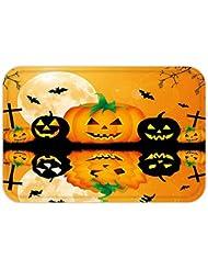 VROSELV Custom Door MatHalloweenDecoration Spooky Carved Halloween Pumpkin  Decor Full Moon With Batand Grave By Lake Decor Orange Black