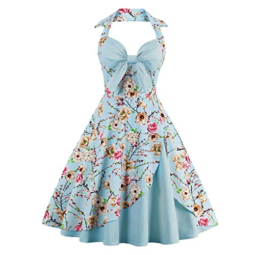 TRENDIANO Womens Elegant Halter Dress, Vintage Tie Knot Pleated Backless Polka Dots Floral Print Cocktail Party Swing Dresses Light Blue