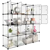diy closet ideas LANGRIA 16 Storage Cube Organizer Plastic Cubby Shelving Drawer Unit, DIY Modular Bookcase Closet System Cabinet with Translucent Design for Clothes, Shoes, Toys (White)