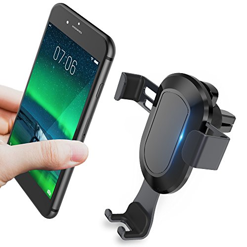 Cell Phone Holder for Car, KOOLEHI Car Phone Mount Air Vent, Auto-Clamping & One Touch for iPhone X 8/8s 7 Plus 6s Plus 6 SE Samsung Galaxy S8 Edge S7 S6 Note 8 5 and More Smartphone- Black (3.42a Car)