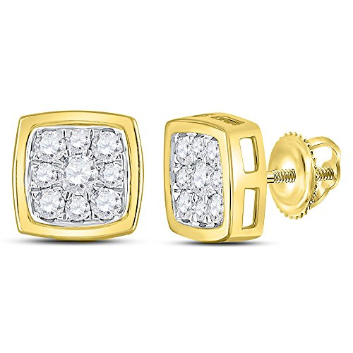 14kt Gold Birthstone Cluster Earrings (14kt Yellow Gold Womens Round Diamond Square Cluster Stud Earrings 1/2 Cttw)