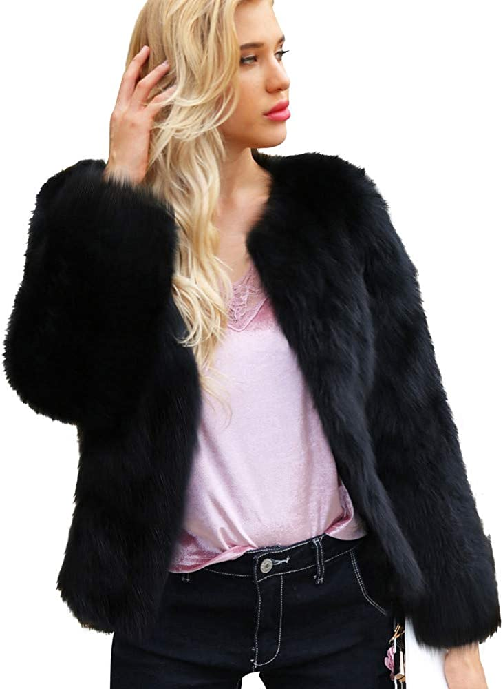 Party Coat for Women Corriee Ladies Fashion Faux Fur Open Front Pretty Outwear Winter Hairy Solid Cardigan